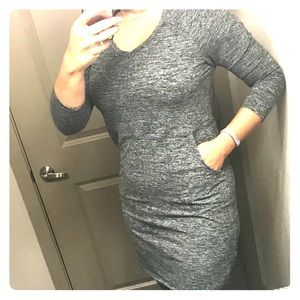 Heather grey black Limited dress with pockets